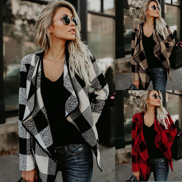 Plaid Lapel Loose Color Block Irregular Short Cardigan Coat