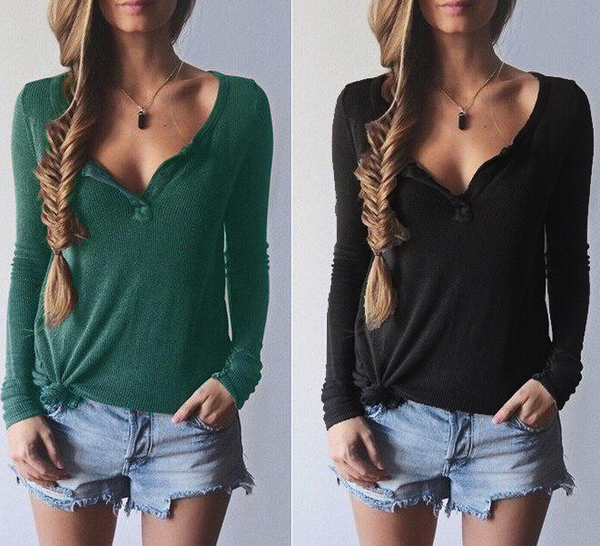 Ribbed Knit V-neck Pure Color Long Sleeves Sweater - Oh Yours Fashion - 1