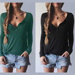 Ribbed Knit V-neck Pure Color Long Sleeves Sweater