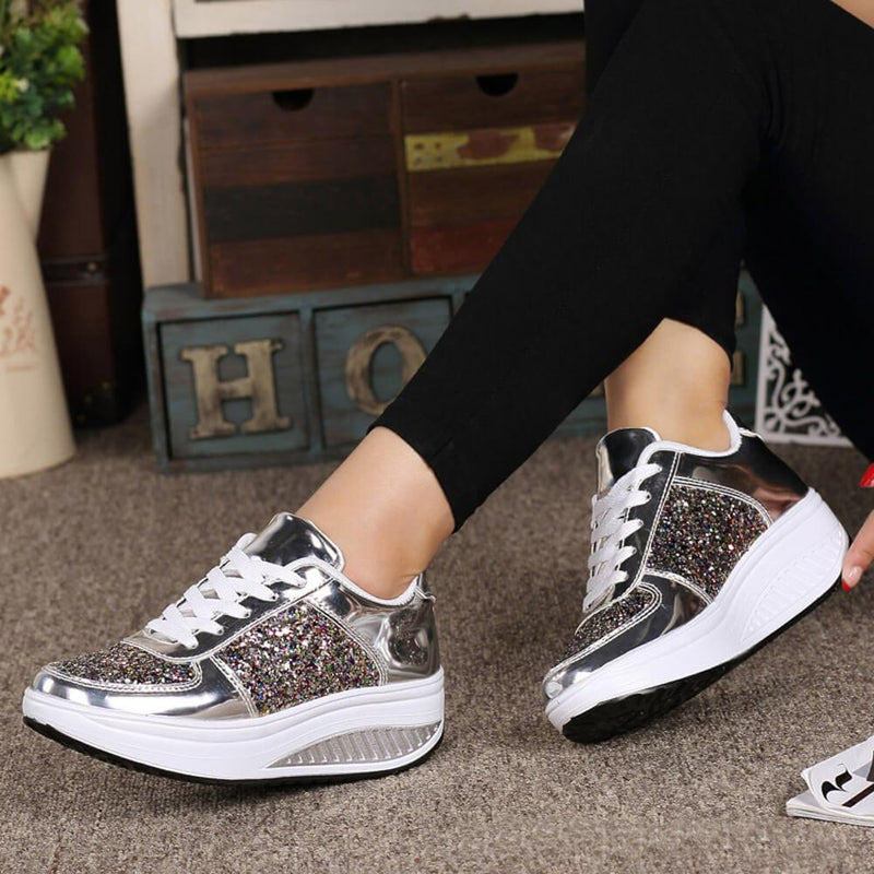 Wedge Glitter Lace Up Chunky Sneakers
