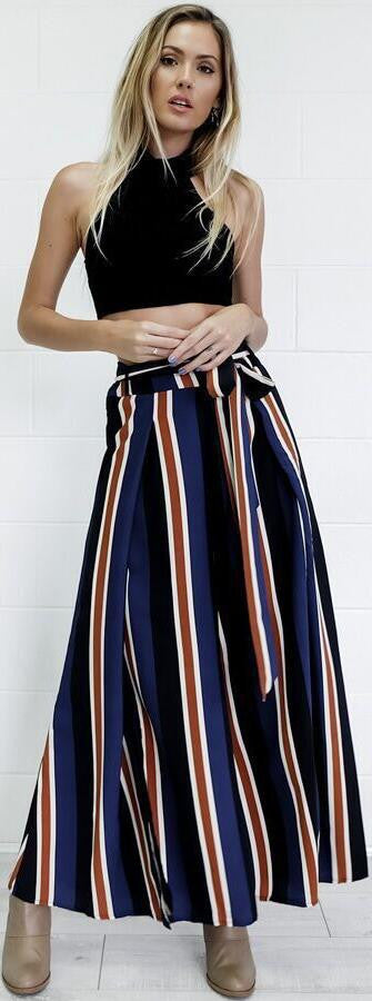 Multicolor Stripes Printed Side Split High Waist Wide Leg Pants - Oh Yours Fashion - 2