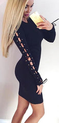 Hollow Out Lace Up Long Sleeve Black Short Bodycon Dress - Oh Yours Fashion - 1
