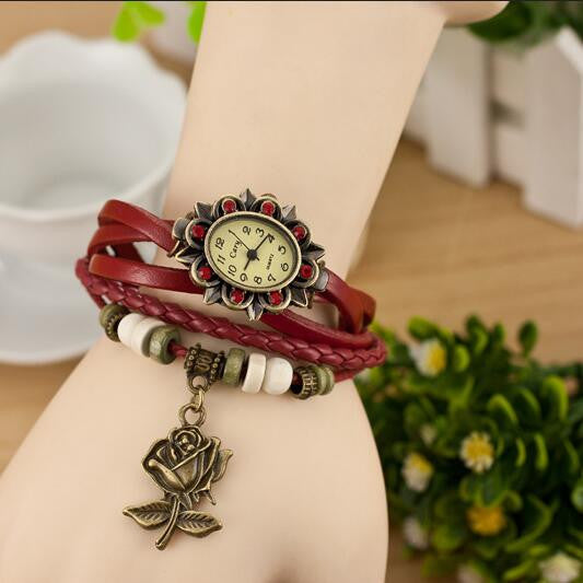 Retro Style Rose Pendant Multilayer Watch - Oh Yours Fashion - 2