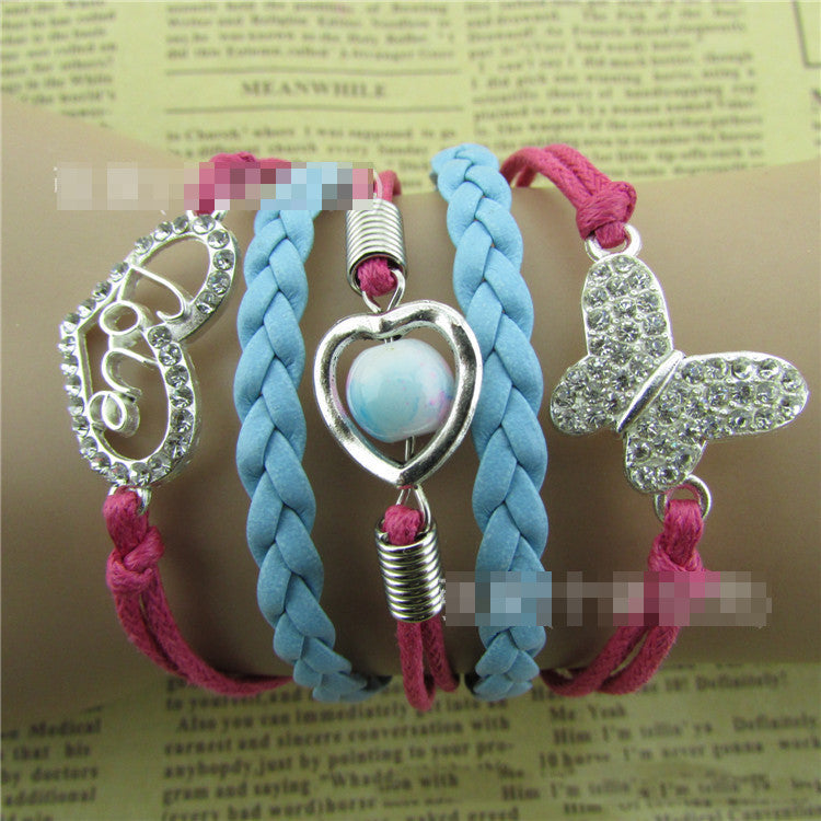 Beautiful Love Heart Butterfly Woven Bracelet - Oh Yours Fashion