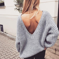 Two Side Wearable V-neck Loose Regular Solid Color Sweaters