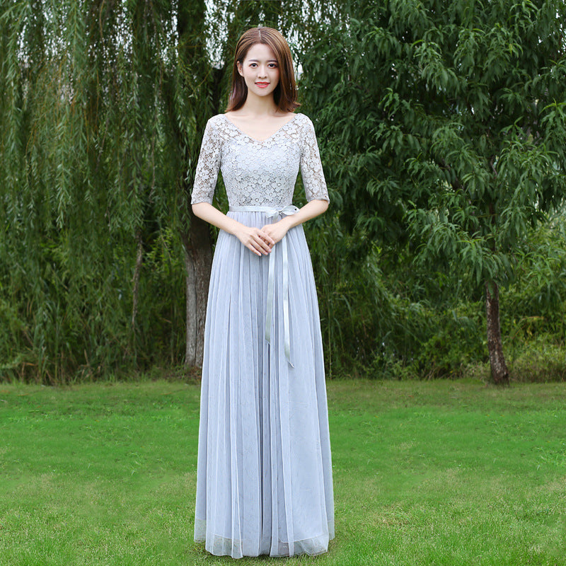 V-neck Half Sleeves Lace Patchwork High Waist Pleated Women Long Bridesmaid Party Dress