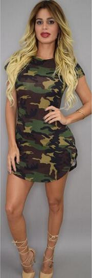 Sheath Short Sleeves Irregular Bodycon Camouflage Club Dress - Oh Yours Fashion - 2