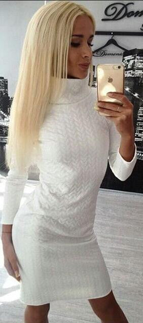 Casual High Neck Twist Long Sleeve Bodycon Short Dress - Oh Yours Fashion - 2