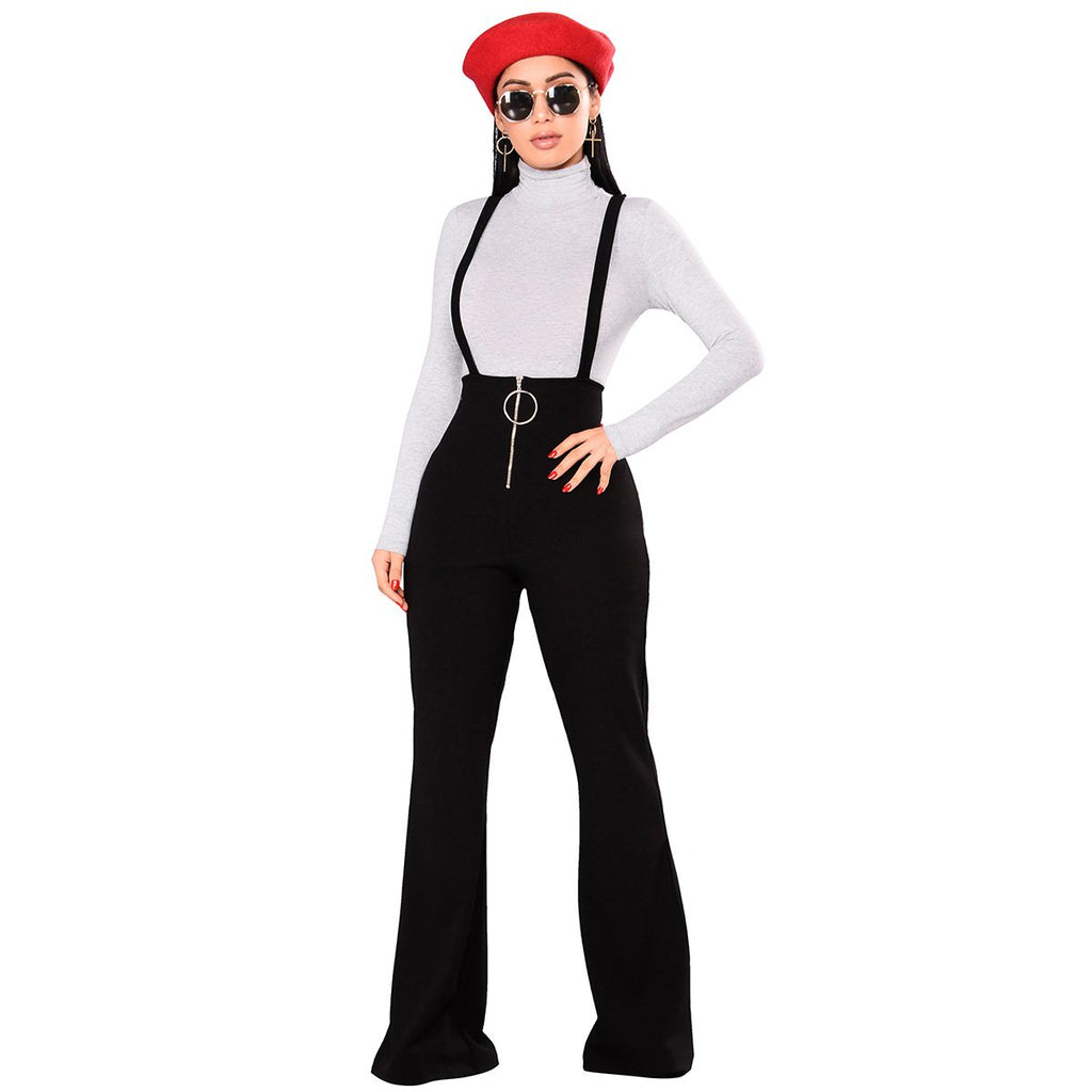 d5a653eef16d High Waist Pure Color Loose Wide-leg Long Rompers Pants – Oh Yours ...