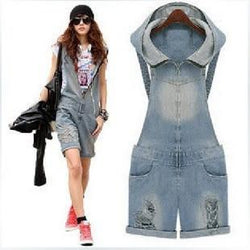 Retro Hole Zipper V-neck Casual Cap Sleeveless Jumpsuits - Meet Yours Fashion - 1