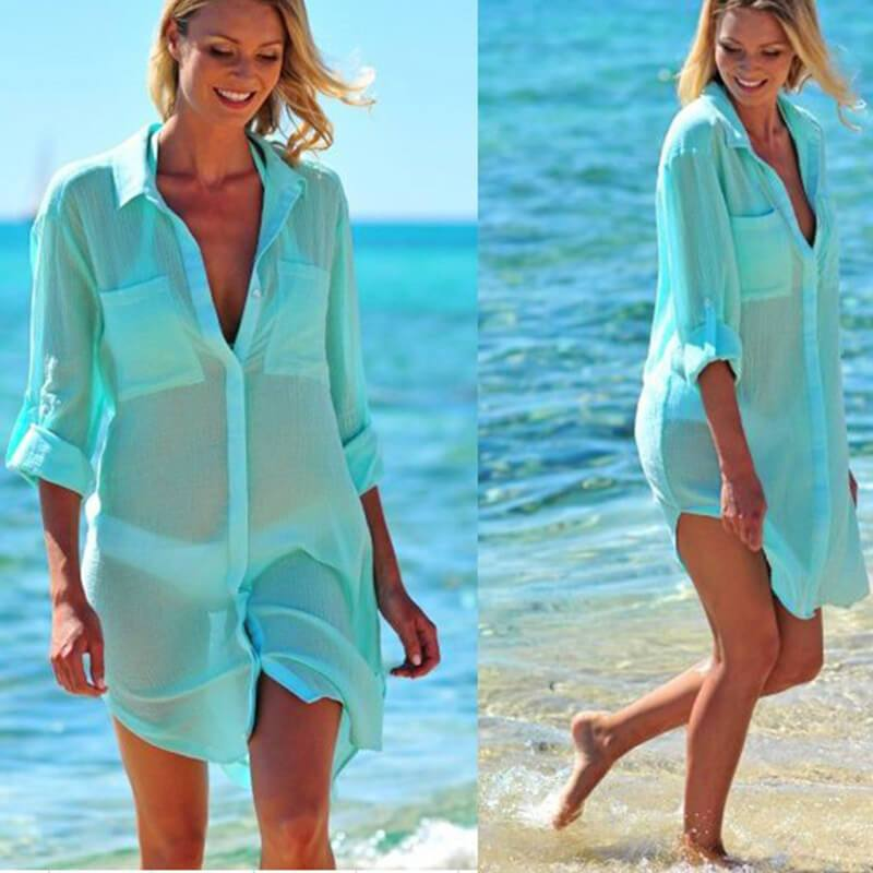 3/4 Sleeve Cover Up Shirt Dress