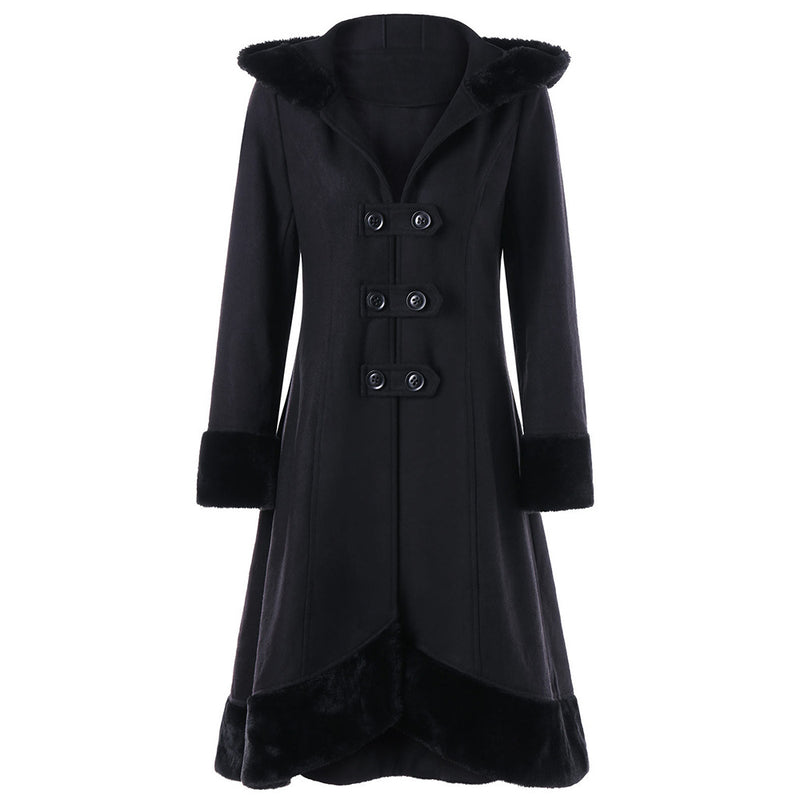 Lapel Double Breast Back Lace UP Bandage Women Irregular Oversized Long Coat
