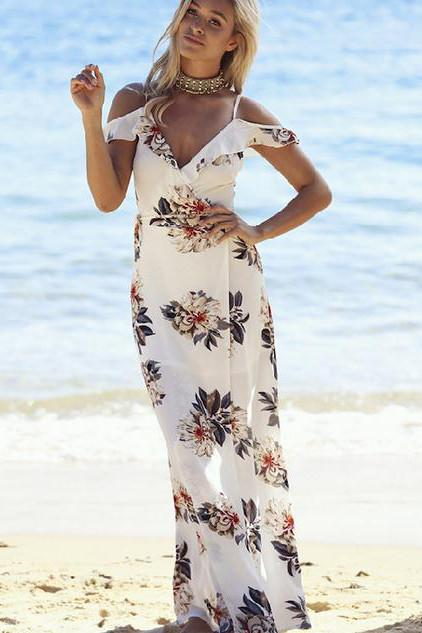 Bear Shoulder Spaghetti Straps V-neck Split Long Print Beach Dress