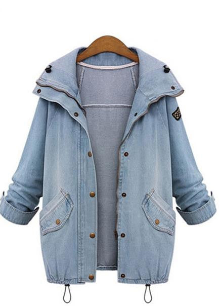 Blue Hooded Drawstring Denim Two Pieces Coat - Oh Yours Fashion - 3