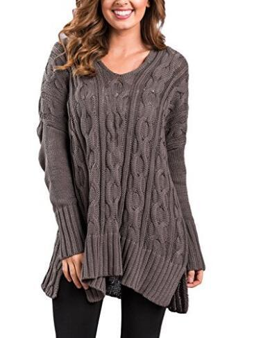 Crew Neck Cable Knit Irregular Side Split Loose Oversized Long Sweater