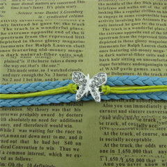 Crystal Butterfly Woven Leather Cord Bracelet - Oh Yours Fashion - 2
