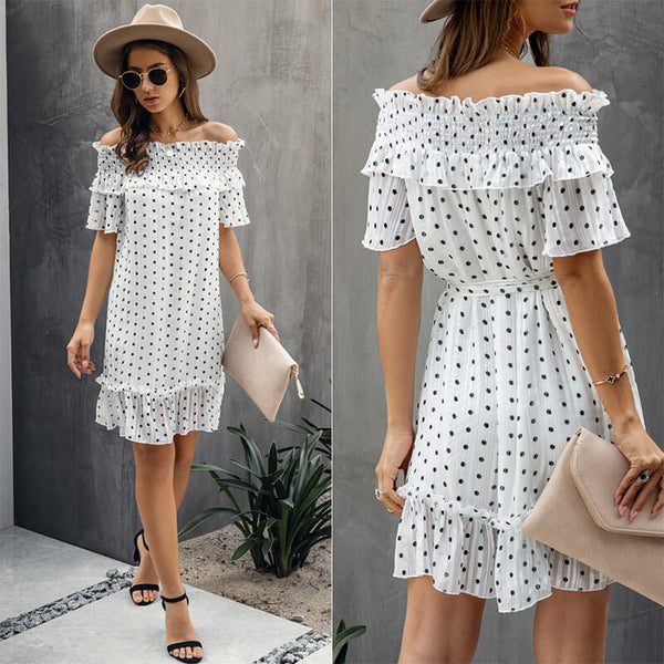 Polka Dots Off Shoulder Cotton A Line Dress
