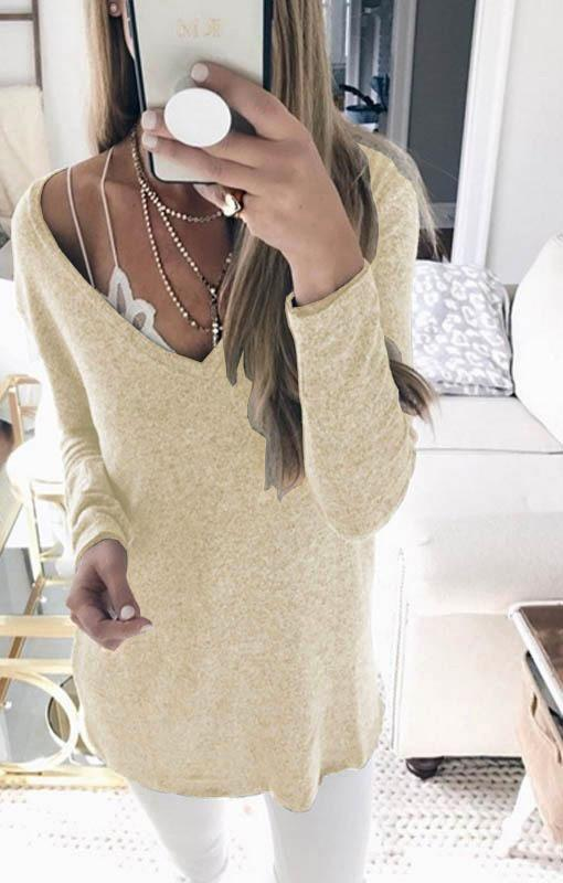Candy Solid Color V-neck Casual Loose Women Pullover Sweater
