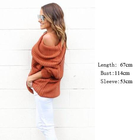 Turtle Neck Knitting Long Sleeves Loose Sweater - Oh Yours Fashion - 7