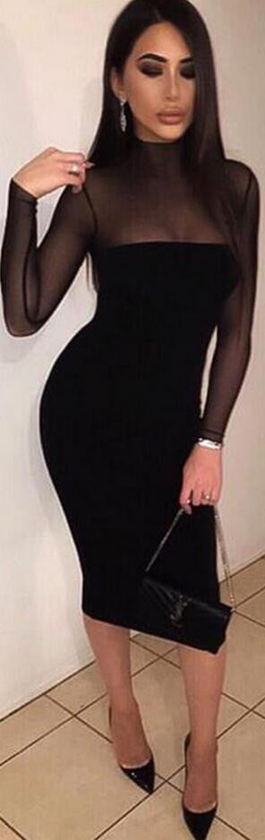 Sexy Long-Sleeved Perspective Bodycon Knee-length Dress - Oh Yours Fashion - 2