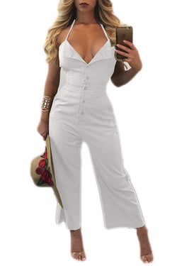 Pure Color Spaghetti Straps Sleeveless Long Backless Jumpsuit