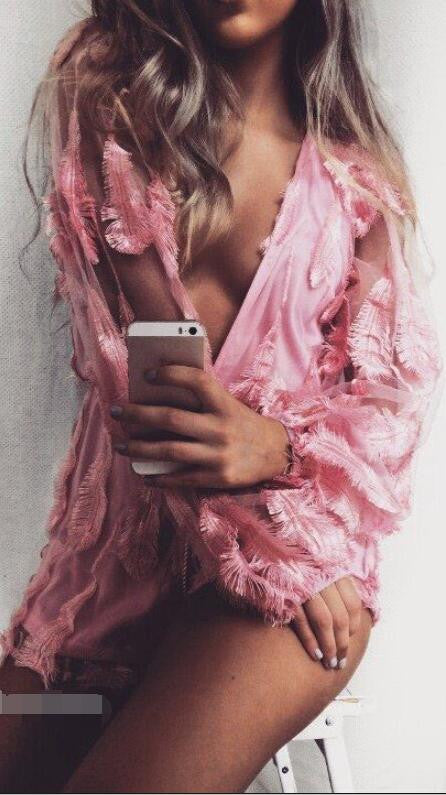 Pink Feather Patchwork Deep V-neck See-through Short Jumpsuit - Oh Yours Fashion - 1