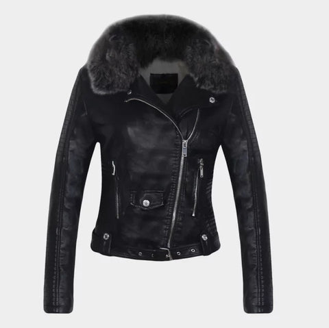 Faux Fur Collar Oblique Zipper Women Slim Short PU Jacket