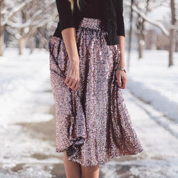 Sequin High Waist Flared Fashion Middle Skirt - Oh Yours Fashion - 1