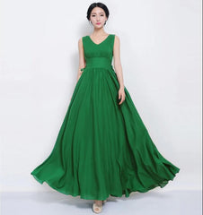 Beautiful Scoop Sleeveless Print Long Pleated Chiffon Dress - Oh Yours Fashion - 3