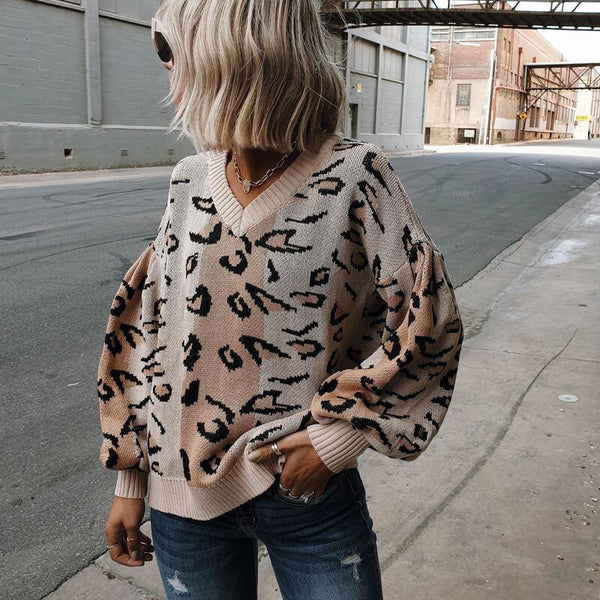 V Neck Colorblock Leopard Sweater