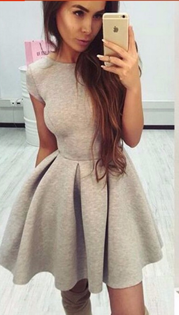 Backless Bow-Knot A-line Short Pleated Skater Dress - Oh Yours Fashion - 2