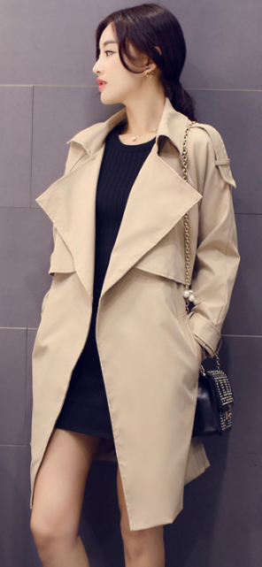 Solid Lapel Pockets Slim Long Coat - Oh Yours Fashion - 2