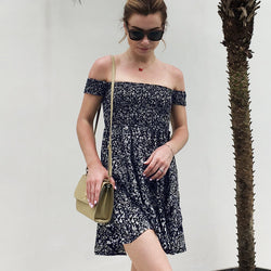 Short Sleeve Scoop Strapless Print Short Dress