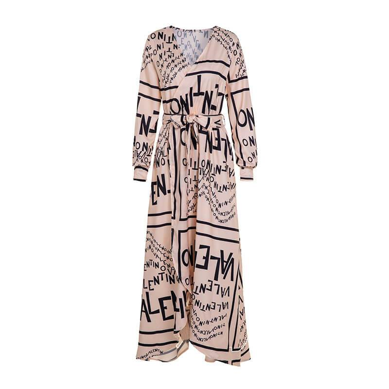 Deep V-neck Print Long Sleeve Long Beach Dress