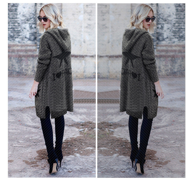 Hooded Thick Plus Size Pockets Long Cardigan Sweater
