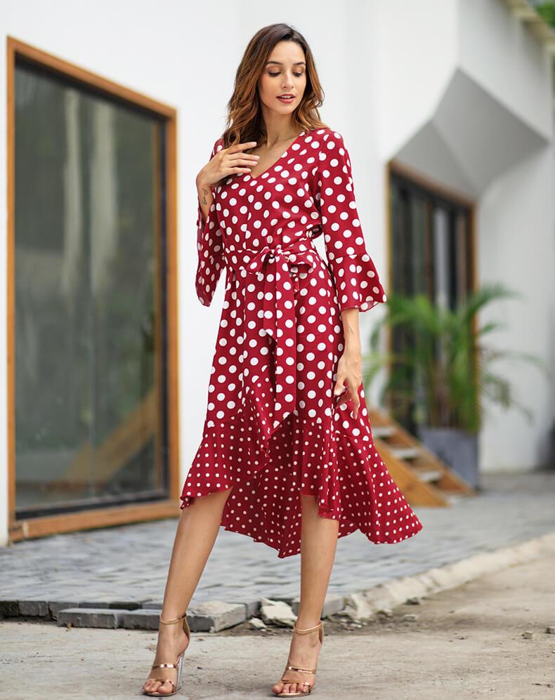 Irregular Wavepoint Print Long Sleeves V-neck Knee-length Dress