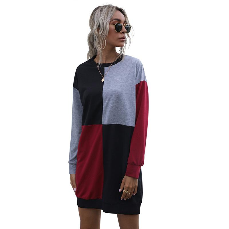 Long Sleeve Contrast Stitching Round Neck Sweater Dress