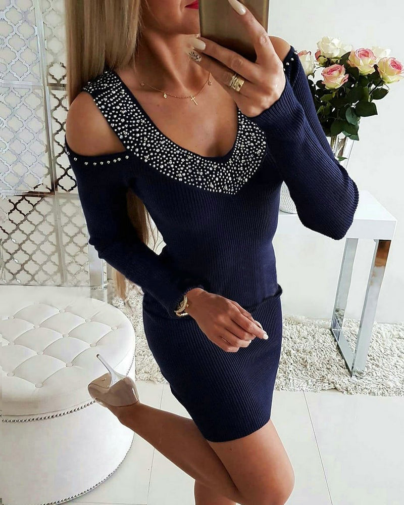 V-neck Off Shoulder Waist Hot Drill Sweater Bodycon Dress