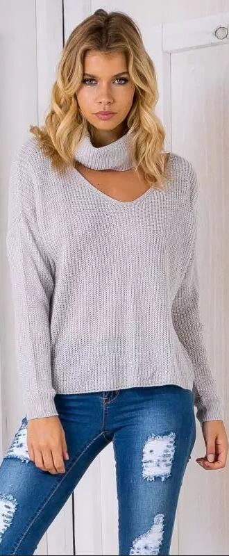 Fashion High Neck Hollow Out Pullover Knitting Sweater - Oh Yours Fashion - 2
