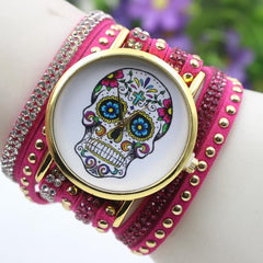 Beautiful Flower Skull Lint Bracelet Watch - Oh Yours Fashion - 6