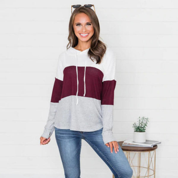 Casual Pullover Drawstring Loose Colorblock Long Hoodies