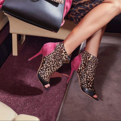 Leopard Peep Toe Suede High Heel Ankle Boots