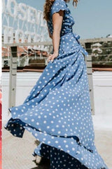 Bohemian V-neck Irregular Split Polka Doat Long Beach Dress