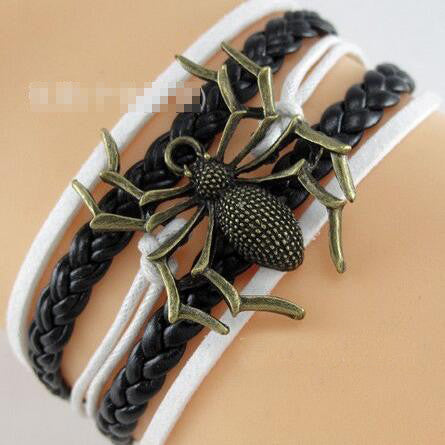 Personality Spider Leather Cord Bracelet - Oh Yours Fashion
