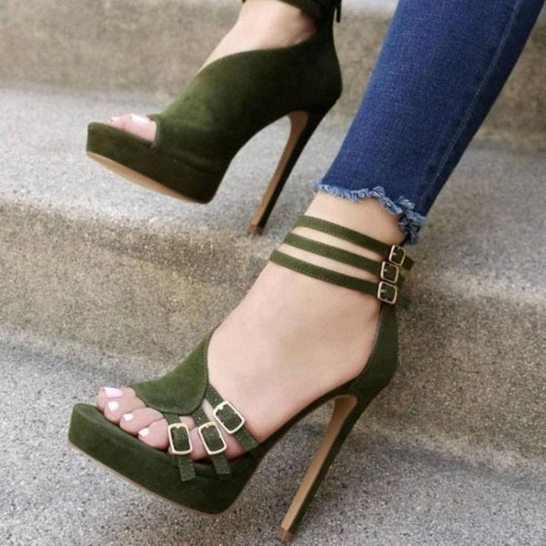 Suede Buckle Platform Open Toe High Heel Sandals