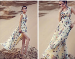 Beautiful Scoop Sleeveless Print Long Pleated Chiffon Dress - Oh Yours Fashion - 6