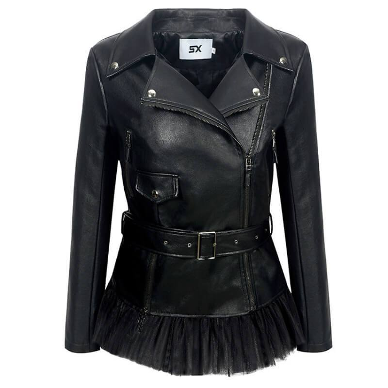 Black Leather Splice Moto Jacket