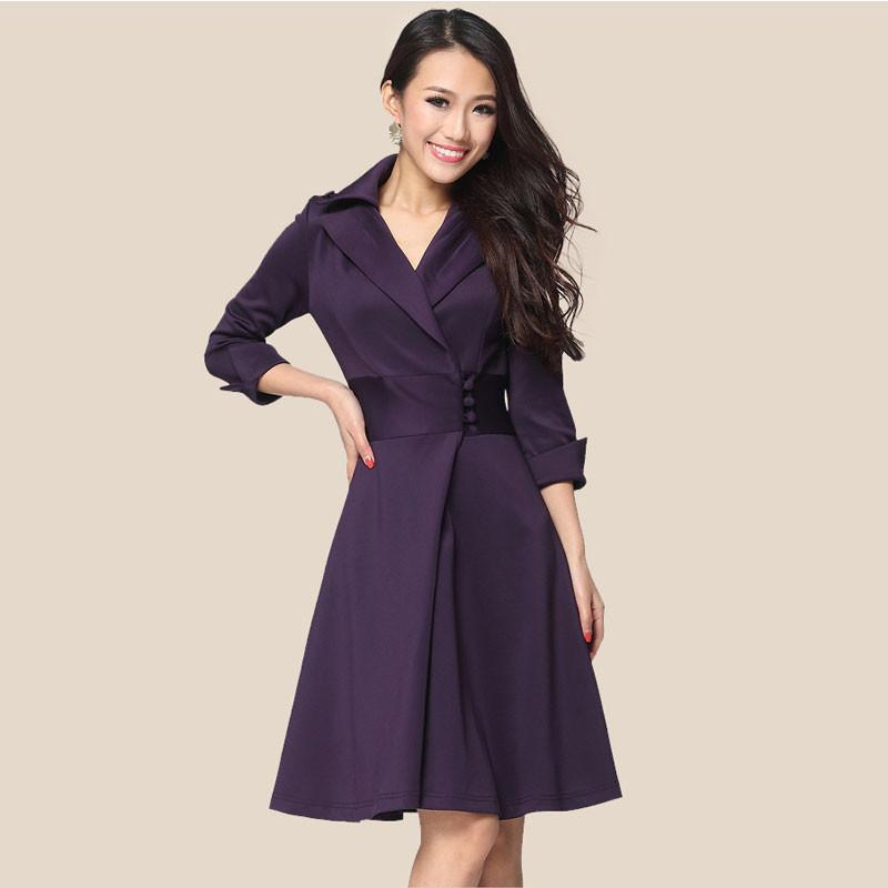Elegant Lapel A-Line Knee Length 3/4 Sleeve OL Dress