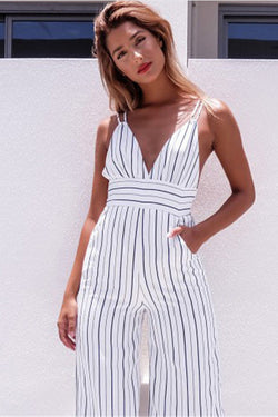 Spaghetti Straps Striped High Waist Deep V-neck Knee-length Jumpsuit