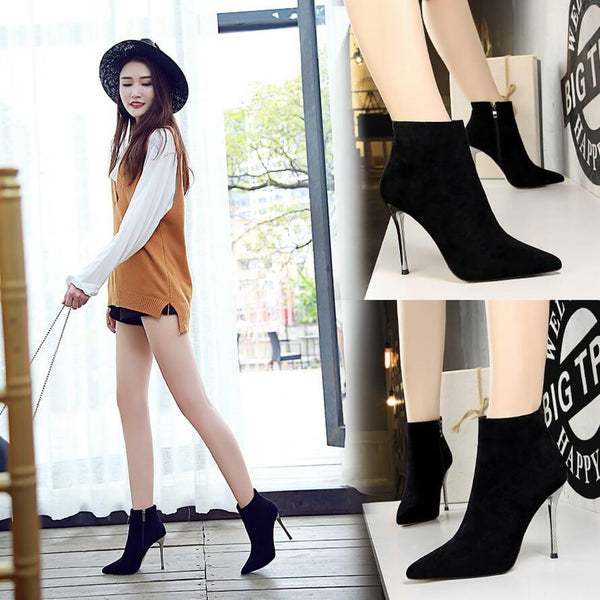 Winter Black Suede Point Toe Zipper High Heel Boots